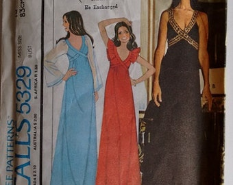 Vintage 1970's McCall's 5329 Sewing Pattern Marlo's Corner Summer Festival Evening Dress Gown Maxi Full Length