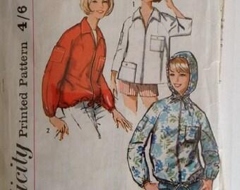 Vintage 60's Simplicity 5440 Sewing pattern Mod Harrington Jacket Anorak Mac 3 Options Size Medium Large