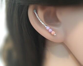 Ear Climber Silver, Opal Climber Earring Jacket, silver ear climber earrings, ear crawler opal, earring climbers, ear crawler earrings opal