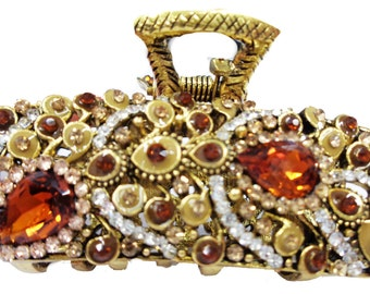 New Gold  Amber & Topaz  Crystal 2'' Hair Claw Clip