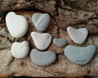 Small Stone Hearts, 8 pc, Beach Stone Heart Figurine, Ontario Lake Pebble Heart Shaped, Heart Gift for Valentine's Day ~ st045