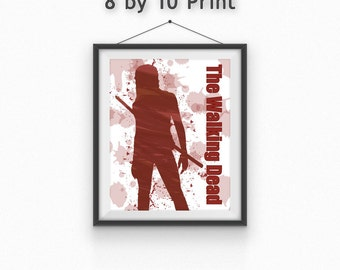 Michonne/Walking Dead Print//Chick with the Sword//Free gift wrapping//zombies