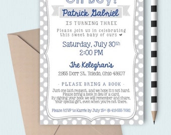 Children's Birthday Party Invitation   Oh Boy!   Polka Dots   Blue and Grey   Book in Lieu of Card   DIGITAL/PRINTABLE/DIY