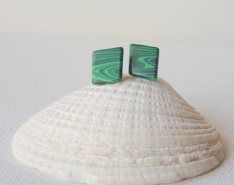 Malachite Sterling Silver Stud Earrings Vintage Malachite Earrings, Green Stud Malahite 925, Geometrical Retro Stone Earrings,Modern Jewelry