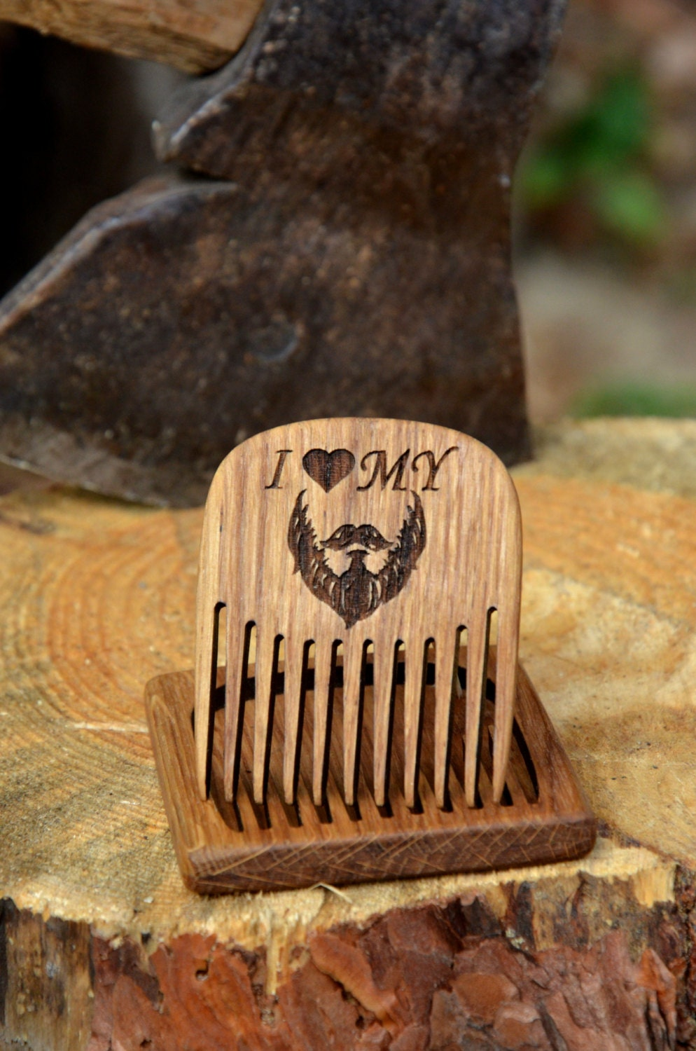custom engraved wooden beard comb mens grooming kit hair. Black Bedroom Furniture Sets. Home Design Ideas