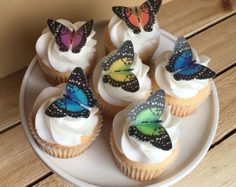 Rainbow Butterfly, Butterflies, Cupcake Toppers, Cake Toppers, Wafer Paper, Food Safe, Read Item Details