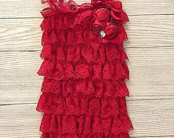 Red Lace Petti Romper with Rosettes, Petti Lace Romper, Baby Girl Pettiromper, Ruffle Romper