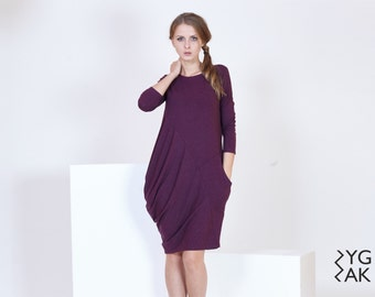 CREASES | asymmetrical dress with knitted