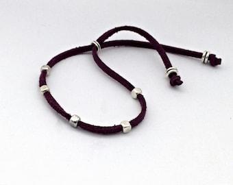 String bracelet, minimalist bracelet, boho bead bracelet, silver bead bracelet, simple cord bead, hippie bracelet, friendship bracelet