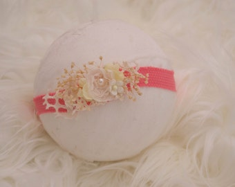 Newborn Photograohy Prop Headband {Spring Coral}