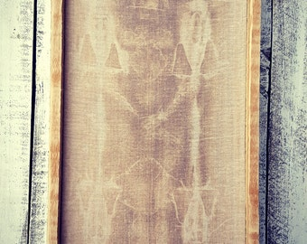SHROUD OF TURIN Reproduction on linen, framed in old barn wood