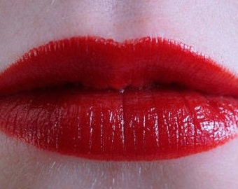 """Scarlet red lipstick in """"Pinup"""" - all natural, vegan lipstick, cruelty-free, moisturizing lipstick, mineral makeup."""