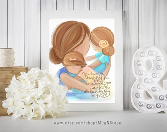 Mother and Daughters Wall Art Strawberry Blonde Family Picture for Nursery Girls Room