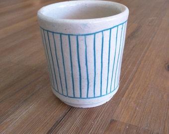 Turquoise and White Striped Handmade Ceramic Tumbler
