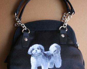 Handbag, Great Mother's Day Gift, Hand Painted, Shih Tzu, Dog Portrait, Satin