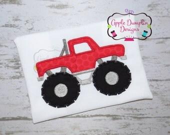 Monster Truck Applique Design, Machine Embroidery Design, Boy Applique, Boy Embroidery, Truck Embroidery, Race Car, 4x4, 5x7, 6x10, 8x8