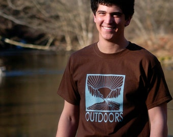 OUTDOORS Hand-Screen Printed 100% Cotton T-Shirt in Brown & Blue