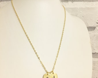 Gold or Silver Plated 12mm Double Disc Handstamped Initial Necklace