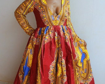 Dashiki Dress/ African Prom Dress/ Dashiki Prom Dress/ Dashiki Gown/ African Print Gown/ Ankara Gown/ Ankara prom dress/ Prom Dress