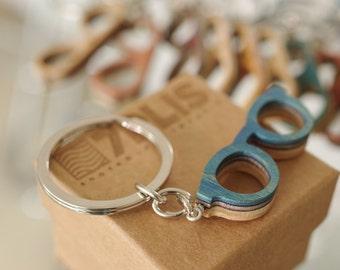 Porte clef lunette skateboard recyclé bois