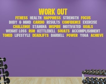 Pro Gym Workout Word Block. Premium Motivational Fitness Gym Motivational Wall Art Decal.