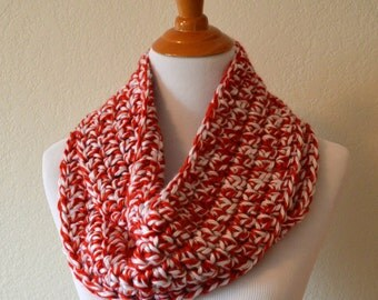 Red and White Crochet Infinity Scarf, OU Football, University of Oklahoma, Nebraska Cornhuskers, Huskers, Wisconsin Badgers, Redwings