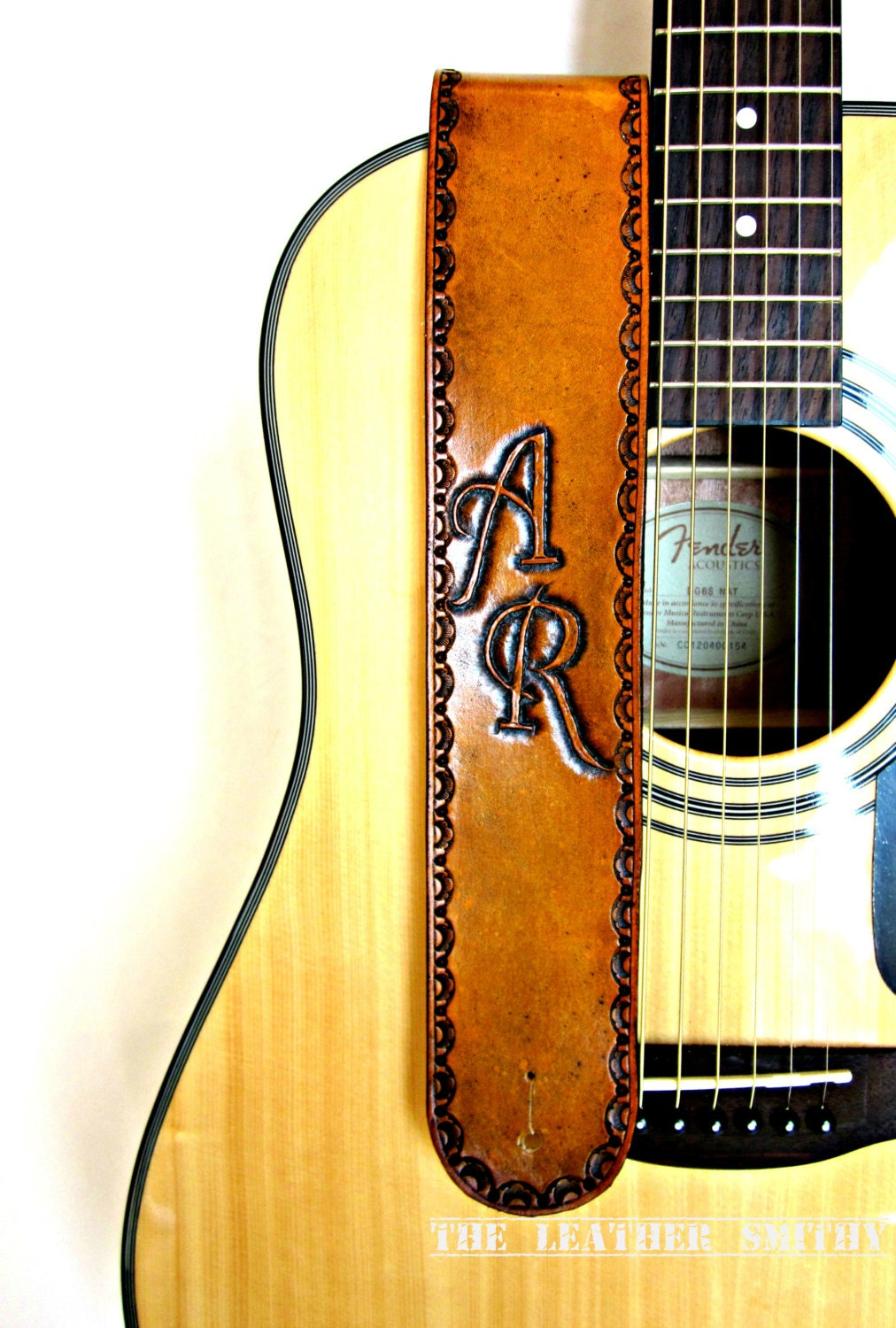 Tan Personalized Leather Guitar Strap Hand By Theleathersmithy