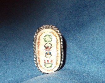 SALE###Vintage Egyptian steel and shell Hieroglyphic ring