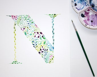 Letter N Wall Art Print, Watercolour Painting, Nursery Decor, Letter Artwork, Botanical Print, Watercolour Initial, Hand Painted Letter