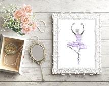 Personalized Ballerina Name Art, Ballet Gifts, Girls Room Decor, Dance Recital Gift, Dance Teacher Gift, Recital Gift, Dance Print
