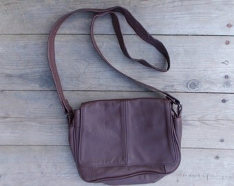 90s Brown LEATHER Crossbody Bag