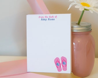 Personalized Flip Flop Monogram Notepad - Monogram Notepad - Flip Flop Notepad - Flip Flop Monogram - Personalized Notepad