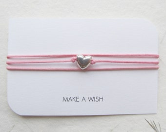 Make a wish bracelet, friendship bracelet, wish bracelet, heart bracelet