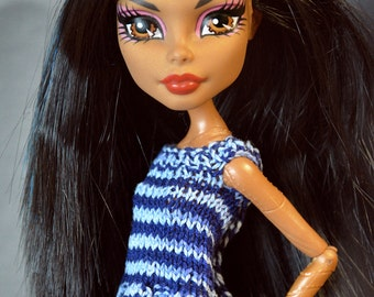 Pattern – high fashion knitted top with baska for monster dolls