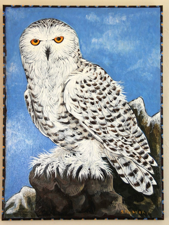 Snowy Owl in Winter Acrylic Painting