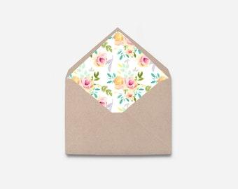 Envelope Liner, Watercolor Flower, DIY Printable Envelope (466)