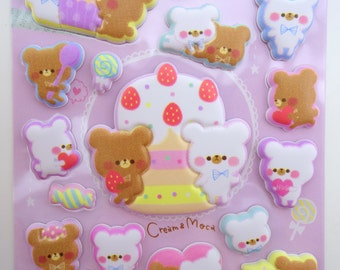 SUPER PUFFY Japanese kawaii teddy bear stickers - kawaii dessert stickers - cute bear stickers - cute cupcake stickers - cute puffy stickers