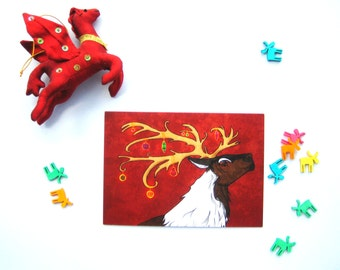 Decorated Reindeer Christmas card