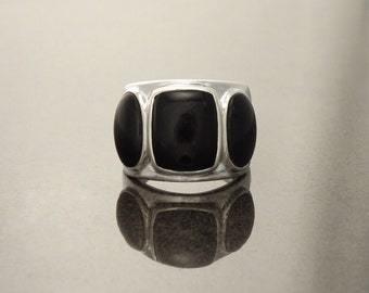 Black Onyx Ring - Sterling Silver - Black Jewelry - Vintage Style Ring - Silver Jewelry - Wide Ring - Statement Ring. Hipster Jewelry. 925.