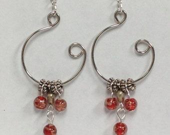 Red and Silver Open Hoop Earrings