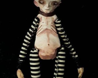 Gothic ooak doll, creepy ooak doll, scary art doll, Ooak artist doll, Halloween doll, scary ooak art, haunting art doll