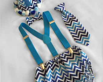 Cake Smash Outfit Boy...Blue Chevron...Baby boy 1st Birthday Outfit...1st Birthday dressup...Baby photoshoot outfit...Cake Smash Prop