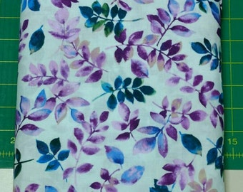 Bella fabric. white leaves purple tree branch vine cotton quilting Exclusively Quilters 4367