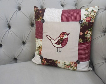 Robin Patchwork Applique Cushion. Throw Pillow. Bird Cushion. Square throw pillow. Square Patchwork. Floral Fabric. Red, Cream and Green.