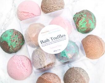 Chocolate Bubble Bath Bomb - Sympathy Gift - Tween Girls - Ice Cream Party Favors - Vanilla Bath Truffles Set of 4 - Mint Chocolate Chip