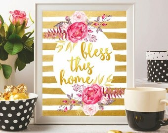 Bible verse wall art Christian gifts Bless this home Bible quote printable Christian quote poster Christian wall art print Watercolor Gold