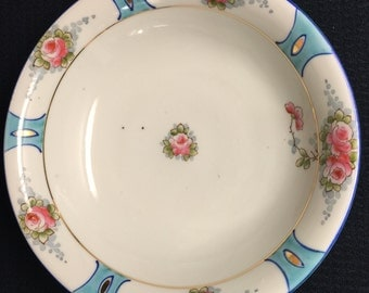 Pre-1921 Nippon Porcelain bowl Blue and Pink Floral with Green Crown Nippon Mark