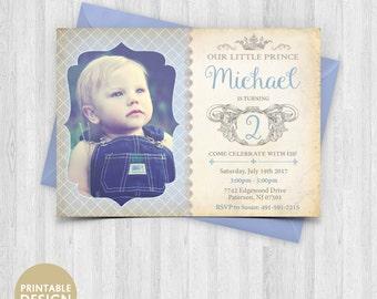 Printable Prince Birthday Invitation - Royal Baby Boy Invitation - Baby Prince photo Invite  - Boy Vintage Renaissance Style Invitation