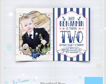 Instant Download - Sea Captain - Blue Ocean Invitation - Sailor Boy Birthday - Nautical Birthday Party - Printable PSD Photoshop Template