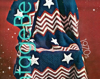 Afghan Crochet Pattern Vintage 1970s Patriotic Pattern USA Stars and Stripes American Flag 4th of July - Instant Download - PDF Pattern